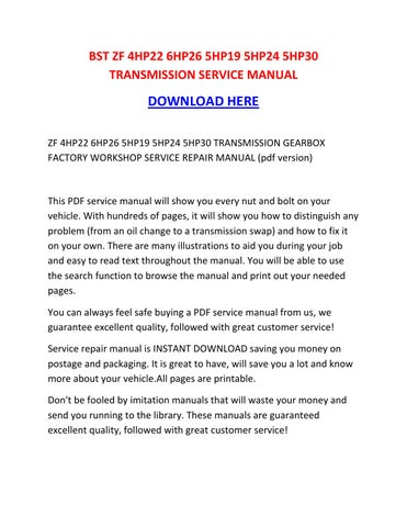 5hp30 manual array zf 4hp22 6hp26 5hp19 5hp24 5hp30 transmission service manual by rh issuu com fandeluxe Image collections