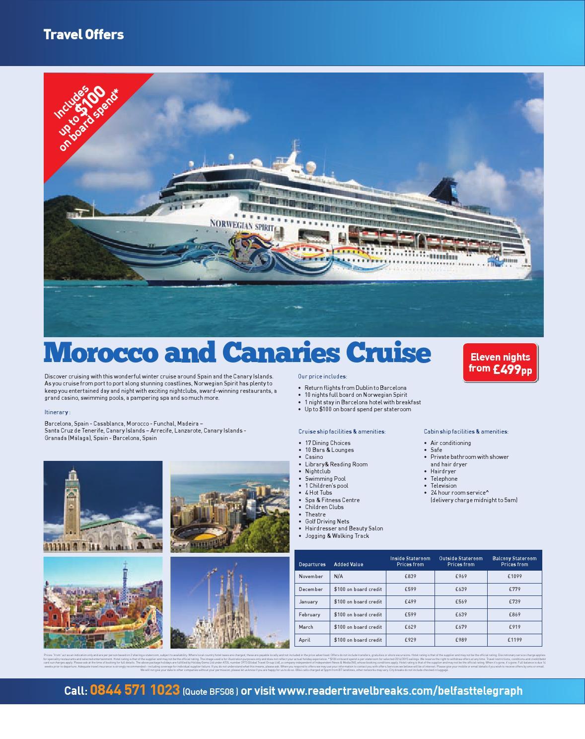Belfast Telegraph Travel Brochure August By Belfast Telegraph - Cruise ship facilities and amenities