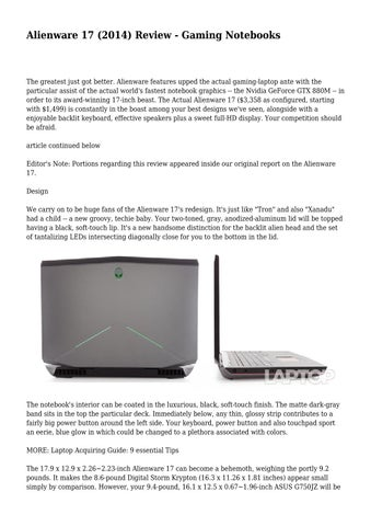 Alienware 17 (2014) Review - Gaming Notebooks by