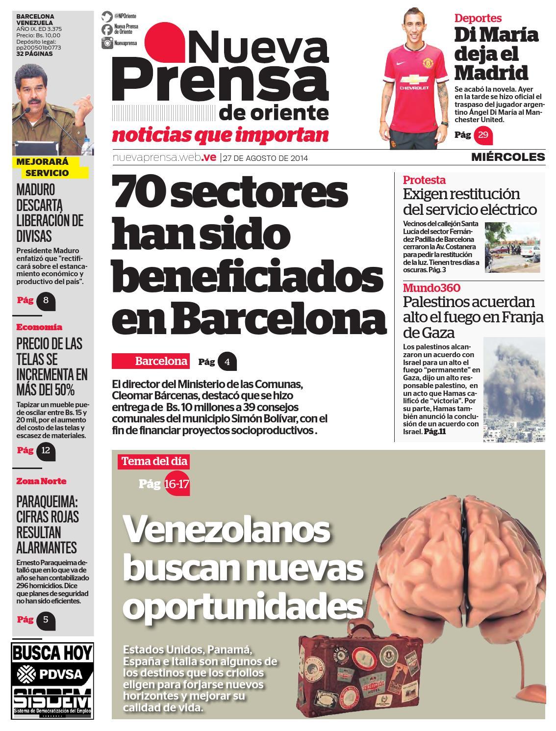 27 DE AGOSTO DE 2014 by Nueva Prensa de Oriente - issuu