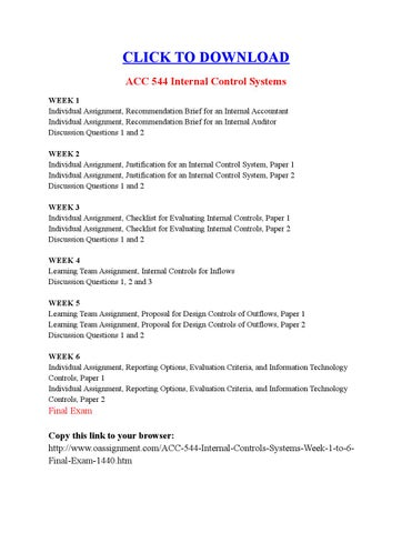ACC 544 Internal Control Systems by Charles Dickens - issuu