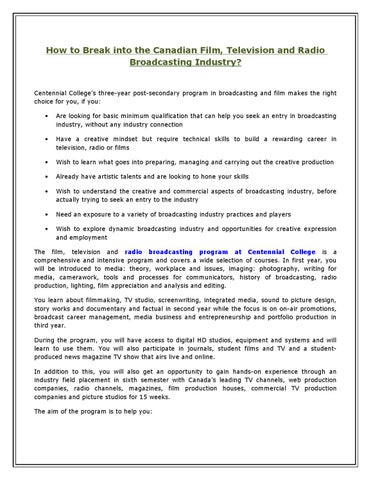 How to break into the canadian film television and radio