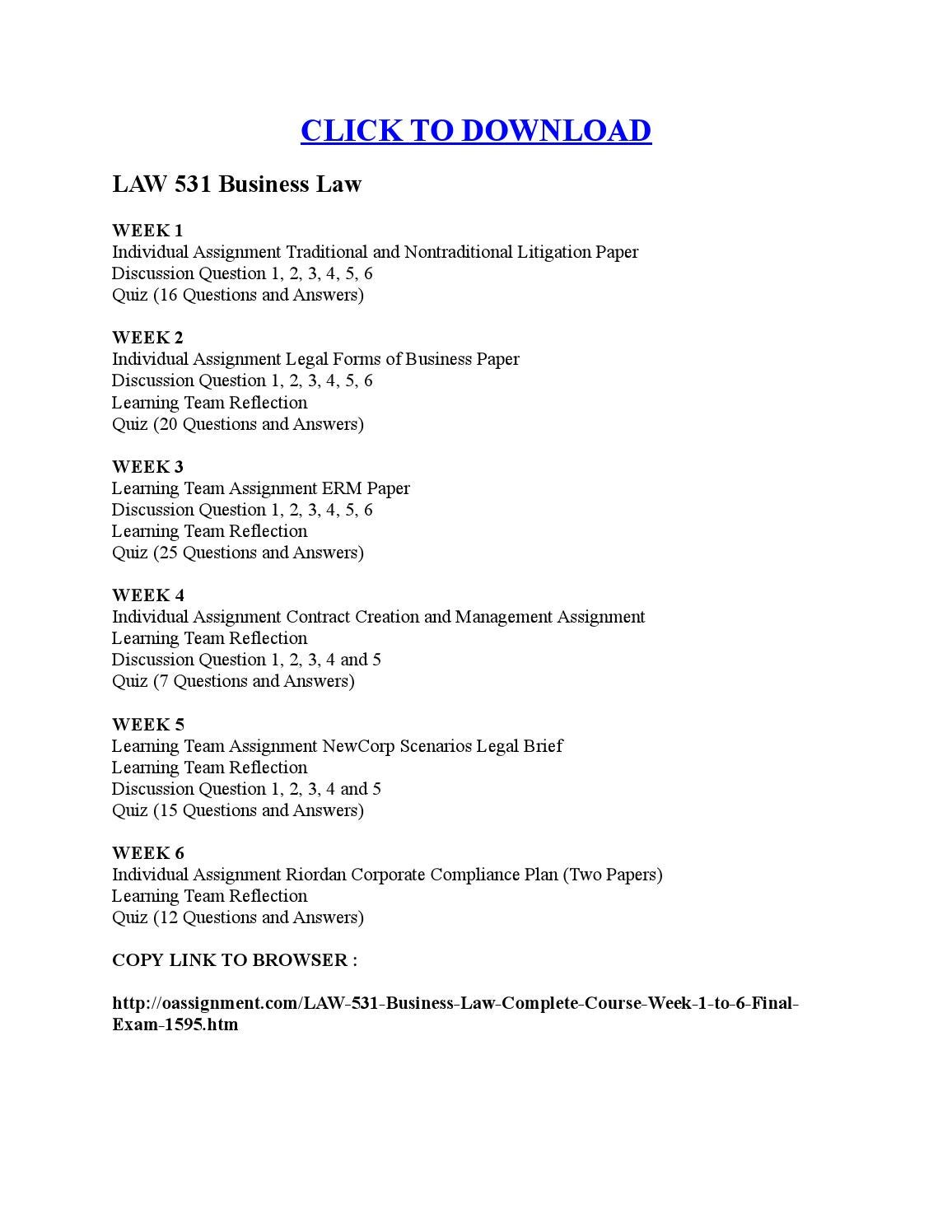 LAW 531 Business Law by Louis Pasteur - issuu