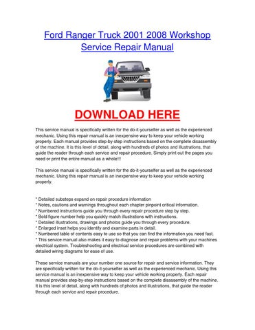 ford ranger truck 2001 2008 workshop car service repair manual by rh issuu com Ford Ranger Automatic Transmission Parts Breakdown Ford Ranger Cooling System Diagram