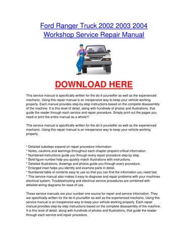 Ford ranger truck 2002 2003 2004 workshop car service repair manual page 1 ford ranger truck 2002 2003 2004 workshop service repair manual publicscrutiny Images