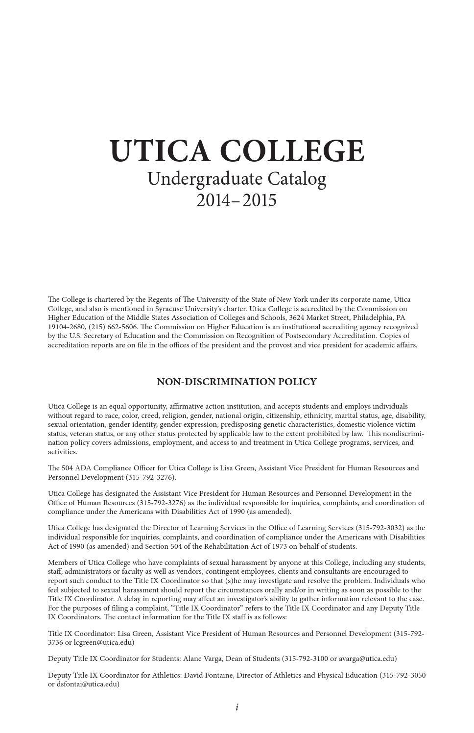 Utica College Undergraduate Catalog 2014-15 by Utica College - issuu