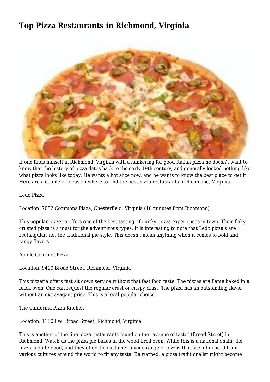 Top Pizza Restaurants in Richmond, Virginia by iratecadre3155 - issuu