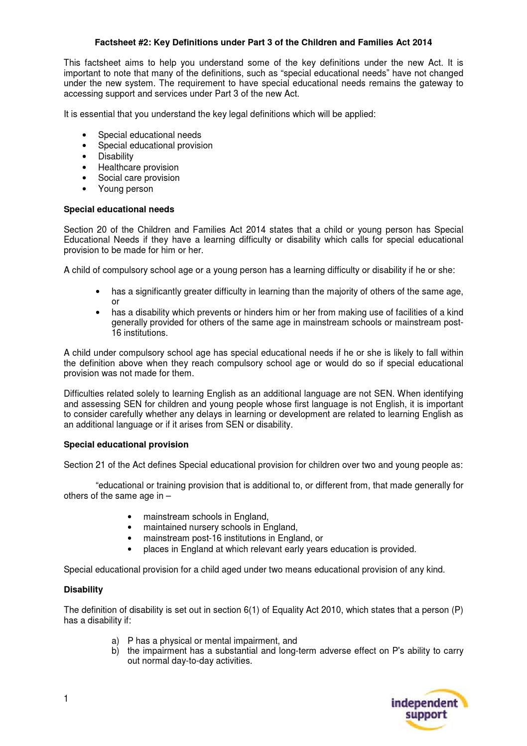 Independent Support Fact Sheet #2: Definitions by Council for Disabled  Children - issuu