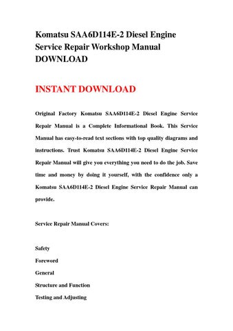 komatsu saa6d114e 2 diesel engine service repair workshop manual rh issuu com Diesel Engine Service Ephrata PA Cummins Diesel Engines
