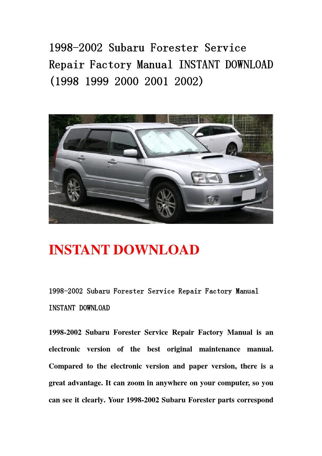 1998 2002 subaru forester service repair factory manual instant download  (1998 1999 2000 2001 2002) by fvgbtg - issuu