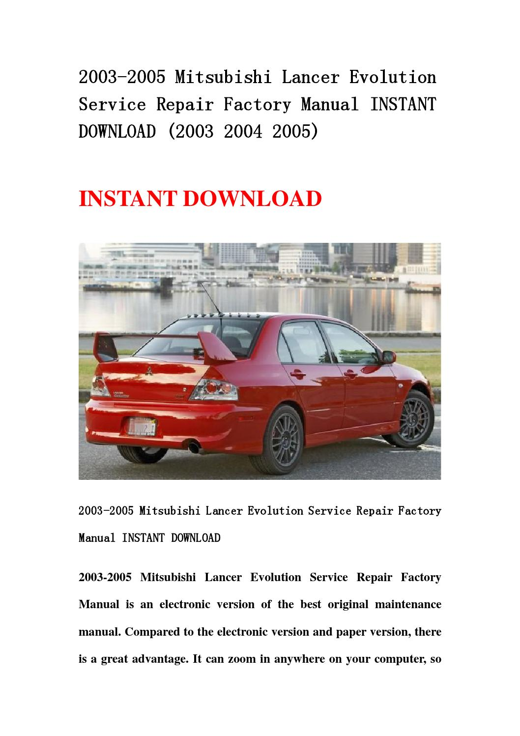 2003 2005 mitsubishi lancer evolution service repair factory manual instant  download (2003 2004 2005 by fvgbtg - issuu
