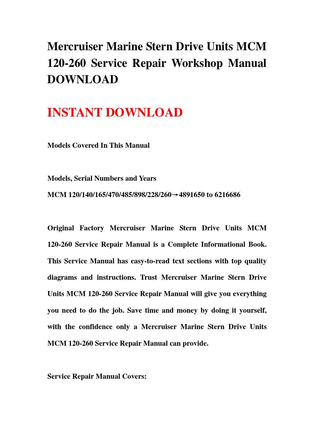 mercruiser marine stern drive units mcm 120 260 service repair rh issuu com 12H802 Manual Downloadable Online Chevrolet Repair Manuals