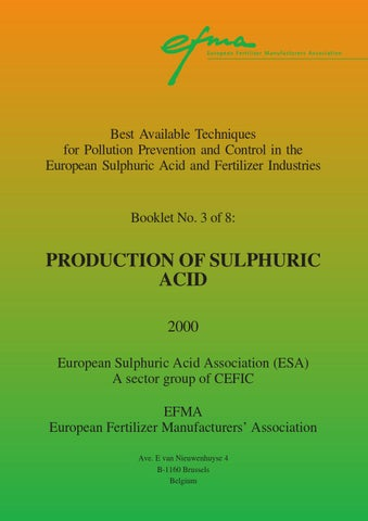 Booklet Nr 3 Production Of Sulphuric Acid By Fertilizers Europe Issuu