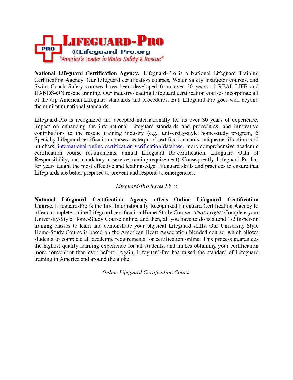 National Lifeguard Certification Agency Offers Online Lifeguard
