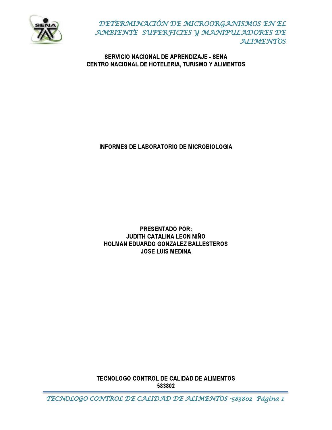 Informe microbiologia practica de superficies, manipuladores y ...