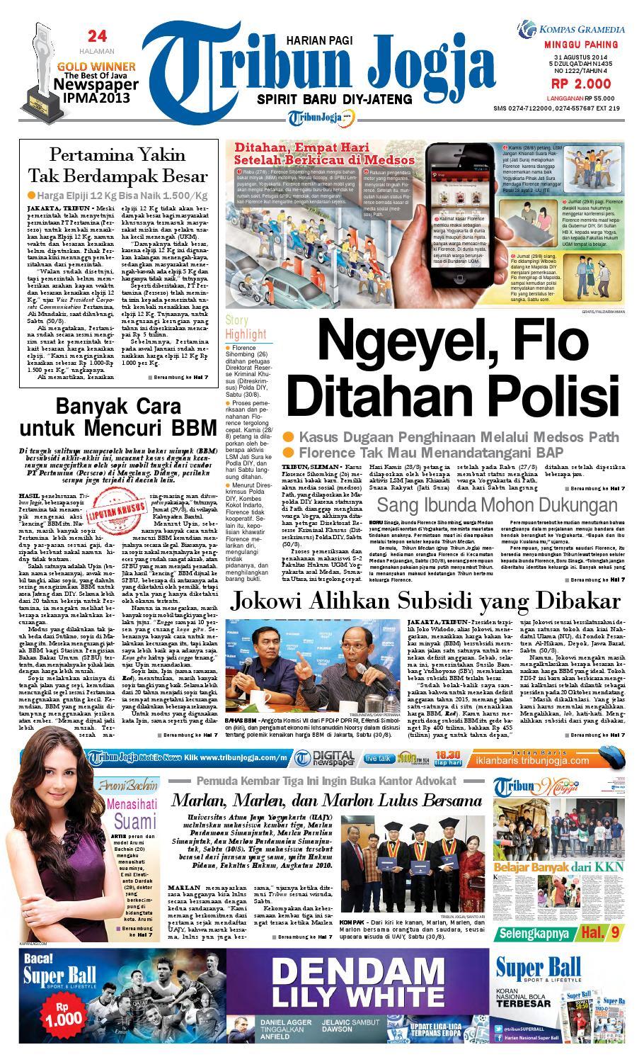 Tribunjogja 31 08 2014 By Tribun Jogja Issuu Produk Ukm Bumn Wisata Mewah Bali 3hr 2mlm