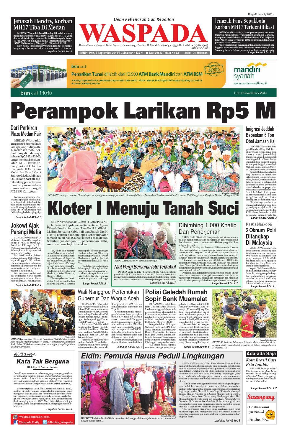 Waspada Senin 1 September 2014 By Harian Issuu Bri Produk Ukm Bumn Kain Doby Motif Bunga