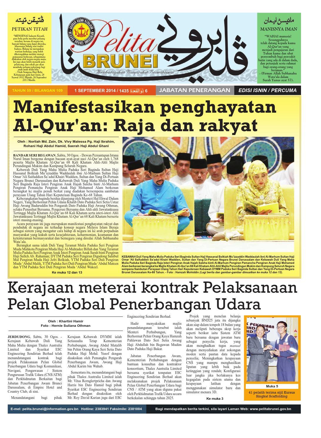 Pelita Brunei Isnin 1 Sept 2014 By Putera Katak Brunei Issuu