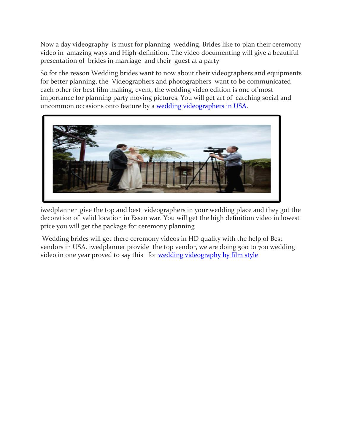 Plan with Best wedding videographers in usa style by anderson harry