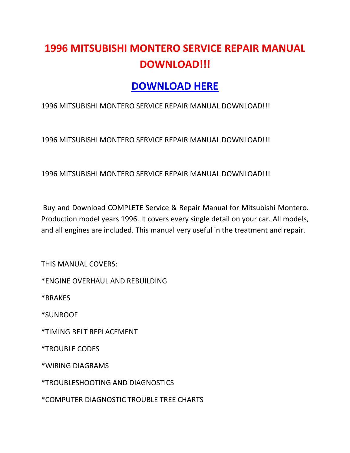 1996 Mitsubishi Montero Service Repair Manual Download