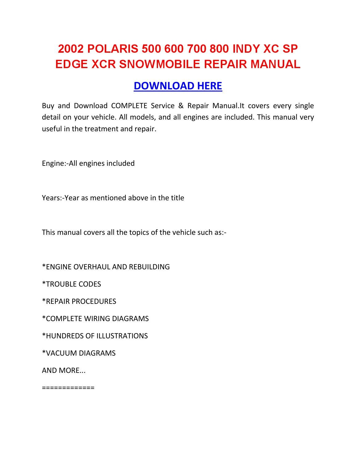 2002 Polaris 500 600 700 800 Indy Xc Sp Edge Xcr Snowmobile Repair Manual By Kayleurgansexz