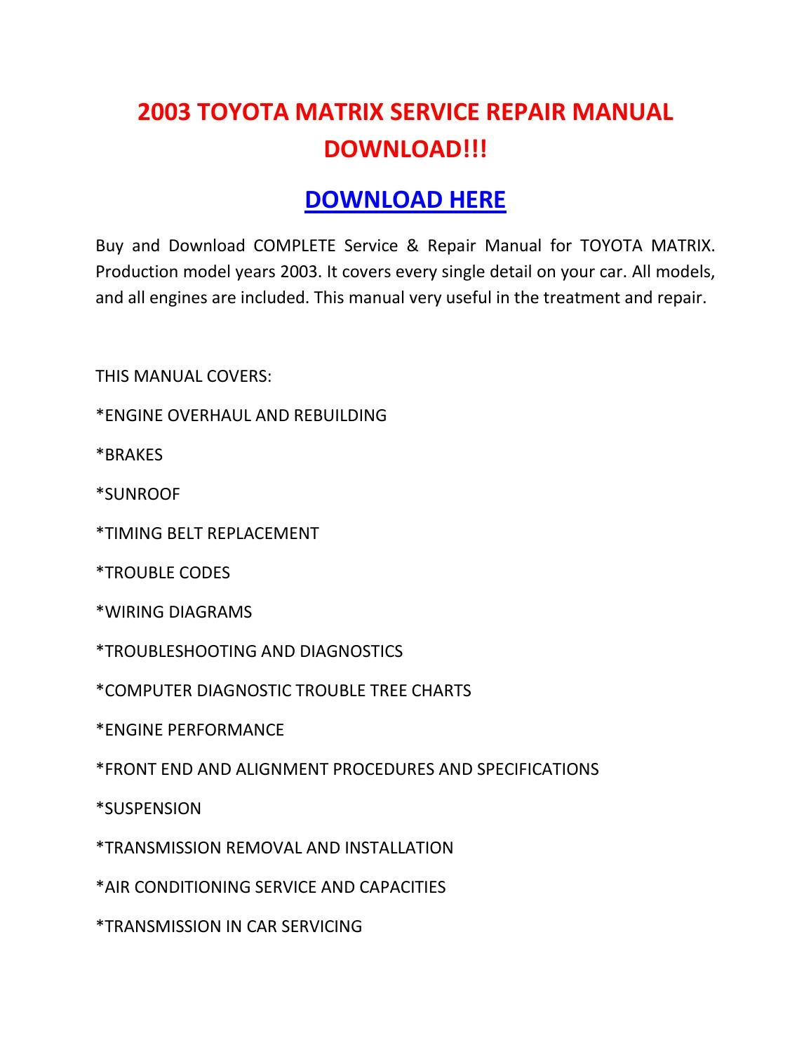 2003 Toyota Matrix Service Repair Manual Download    By