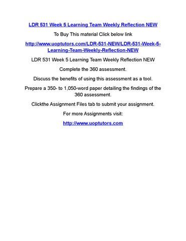 Ldr 531 week 5 determining your