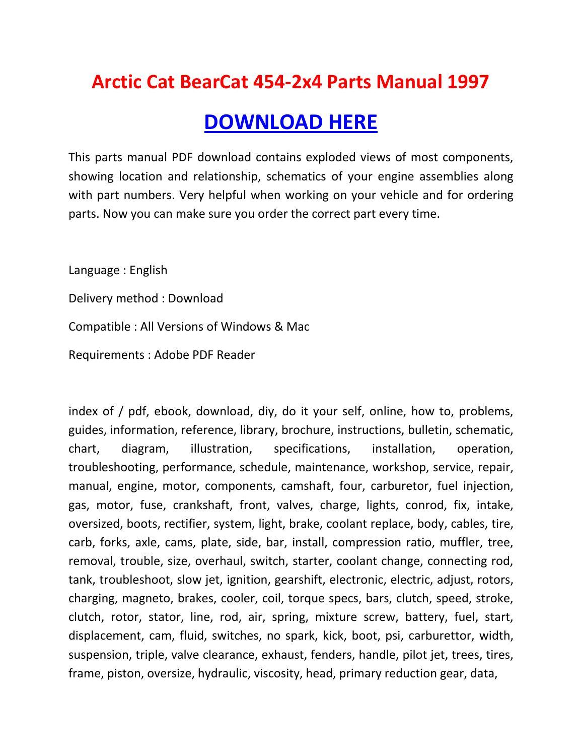 Arctic cat bearcat 454 2x4 parts manual 1997 by ...