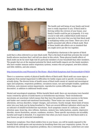 Page 1 Health Side Effects Of Black Mold