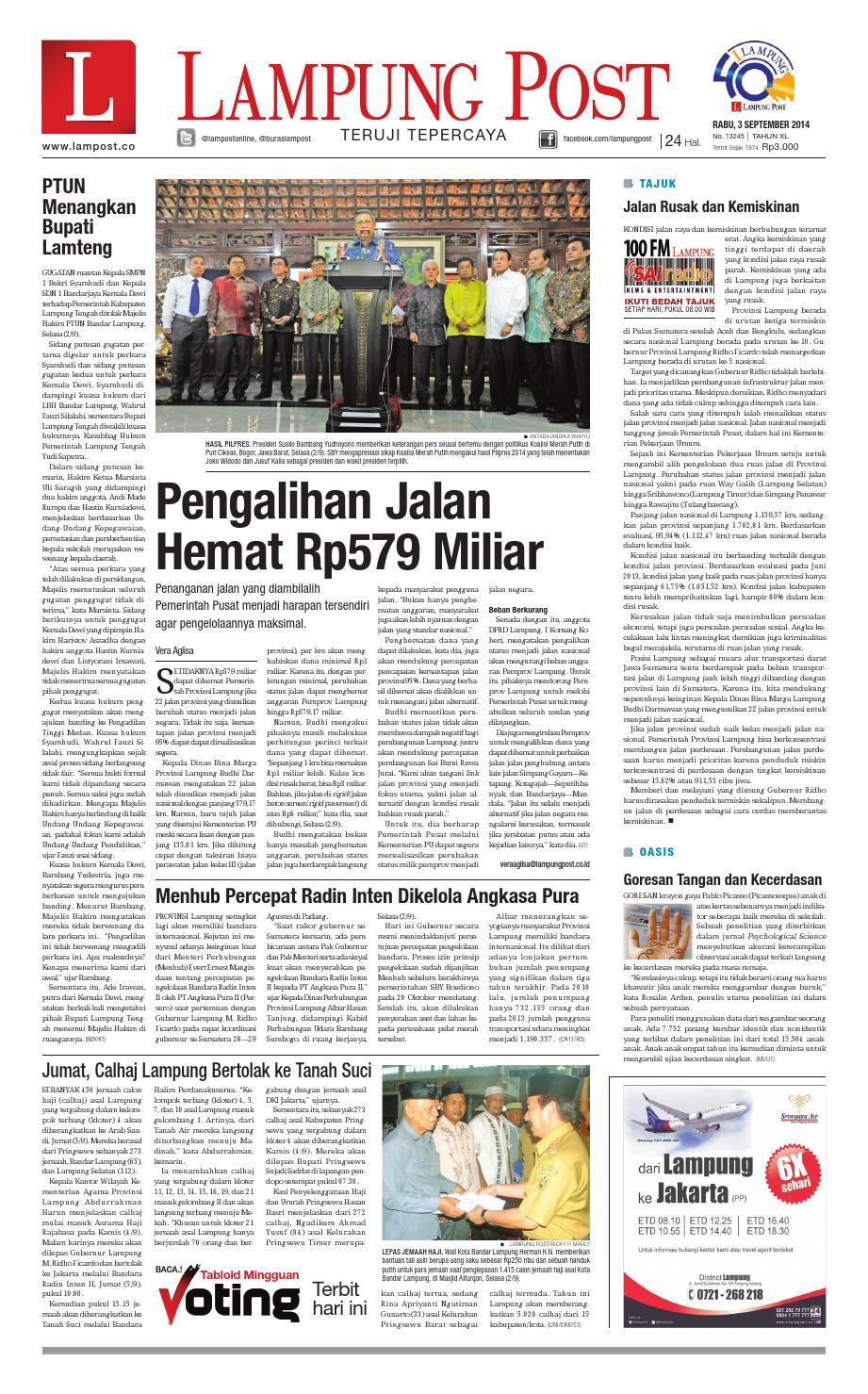 Lampung Post Rabu 3 September 2014 By Issuu Produk Ukm Bumn Sulam Usus Pmk