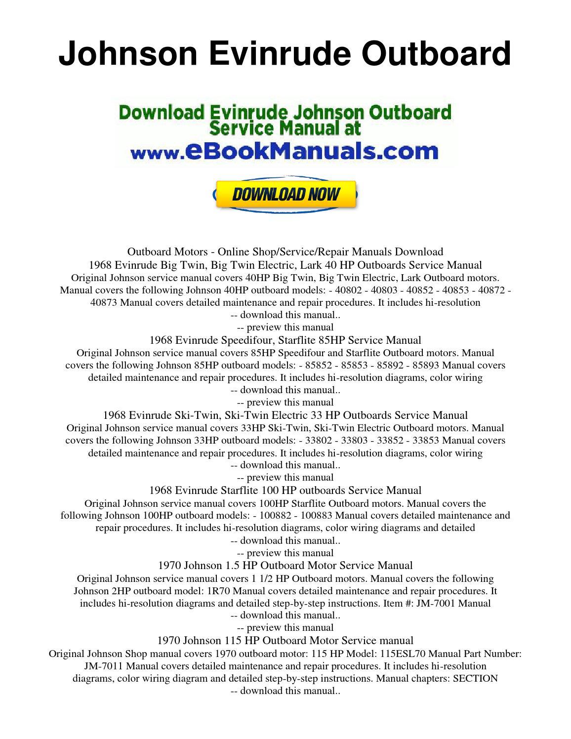 Johnson Evinrude Outboard By Jonhson Evinrude Manual Issuu