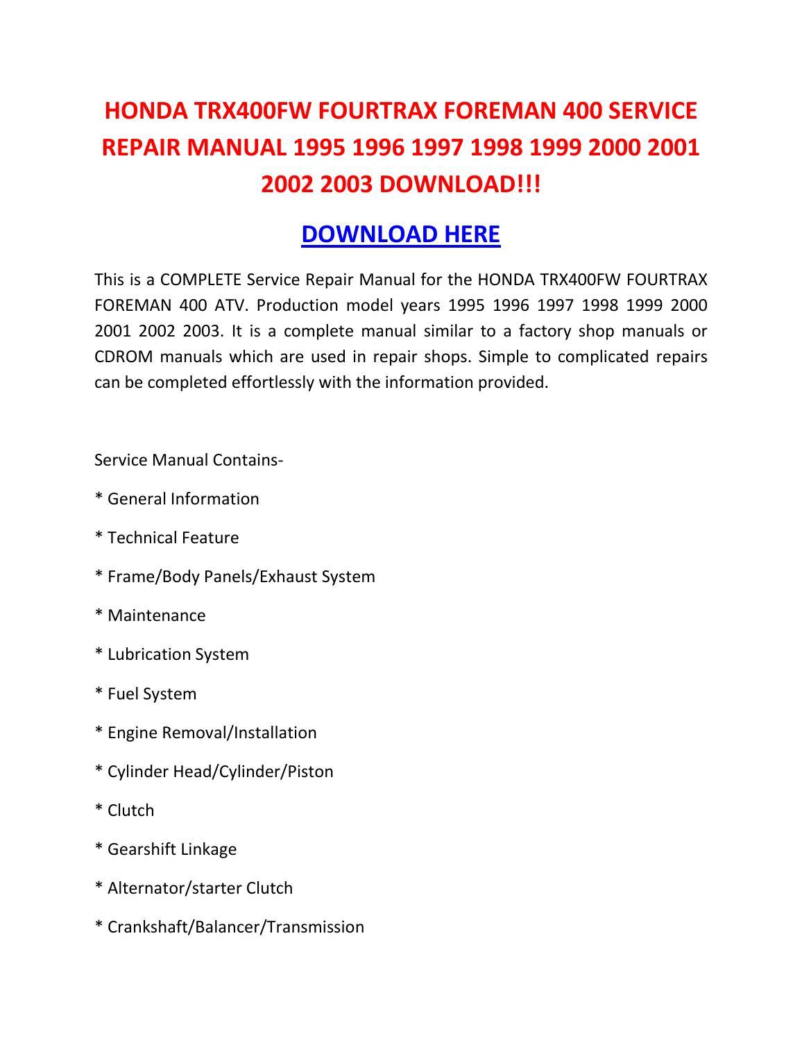 Honda Trx400fw Fourtrax Foreman 400 Service Repair Manual