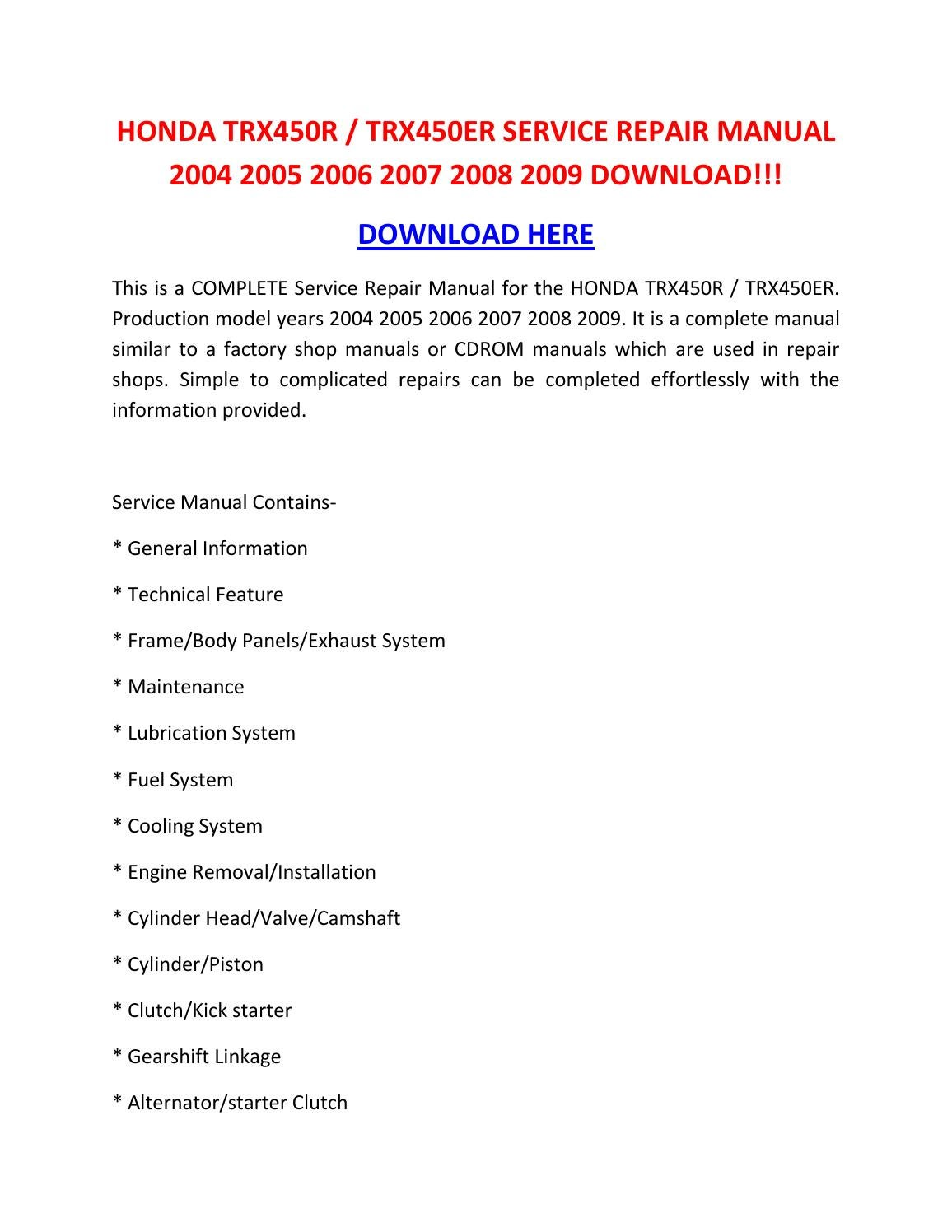 Honda Trx450r Trx450er Service Repair Manual 2004 2005