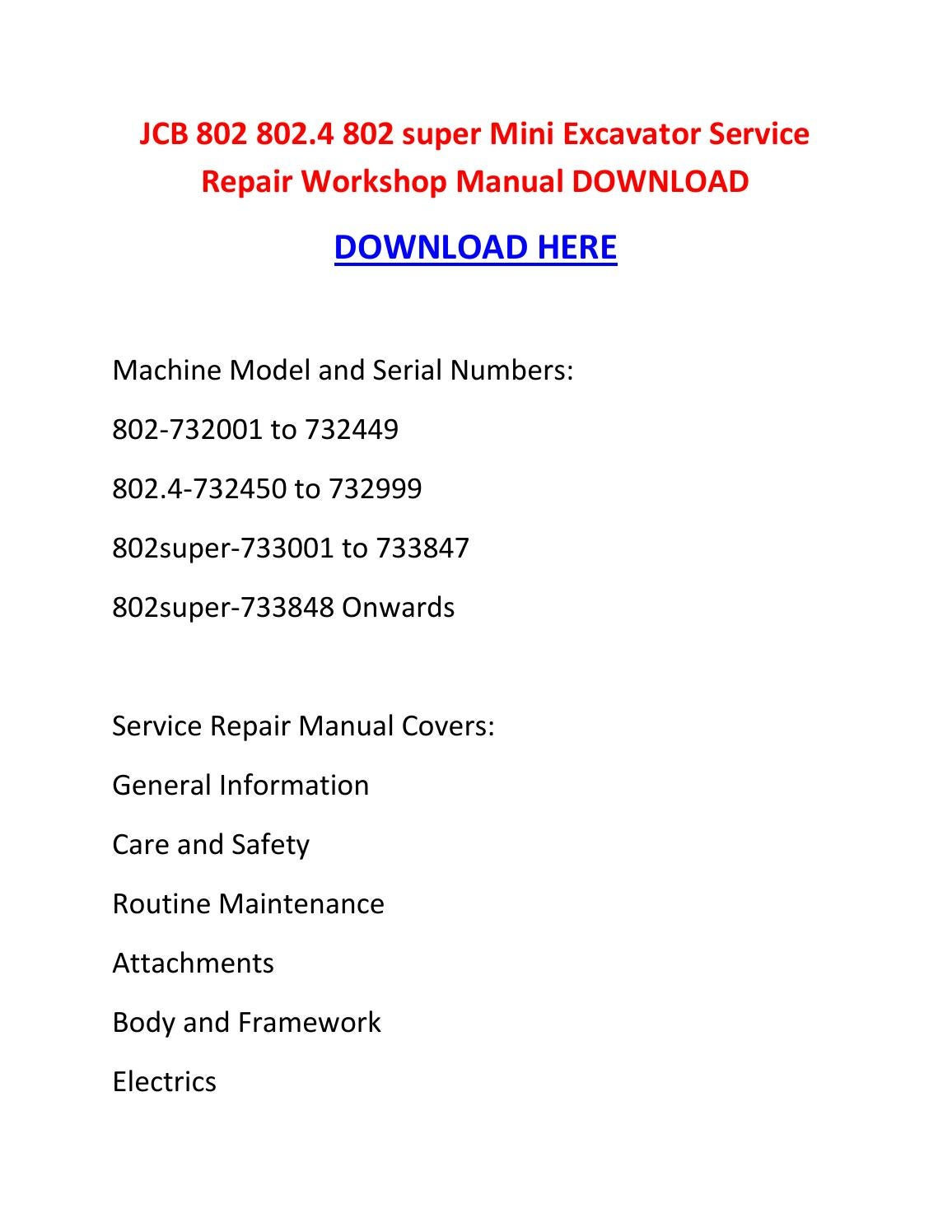 Jcb 802 802 4 802 super mini excavator service repair workshop manual  download by suzettespoonerowqbdt - issuu