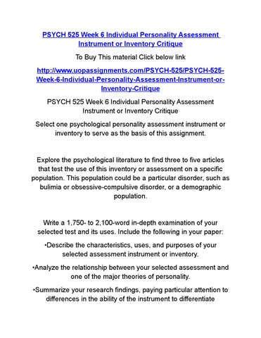 personality assessment instrument critique Personality assessment personality assessment assists counselors in: understanding the behavior of a particular individual helps counselor come to a conclusion about a possible future course of action helps counselor make predictions about a person's unique future behavior.