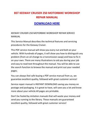 keeway cruiser 250 motorbike workshop repair manual by rh issuu com keeway ry6 repair manual keeway focus 50 repair manual
