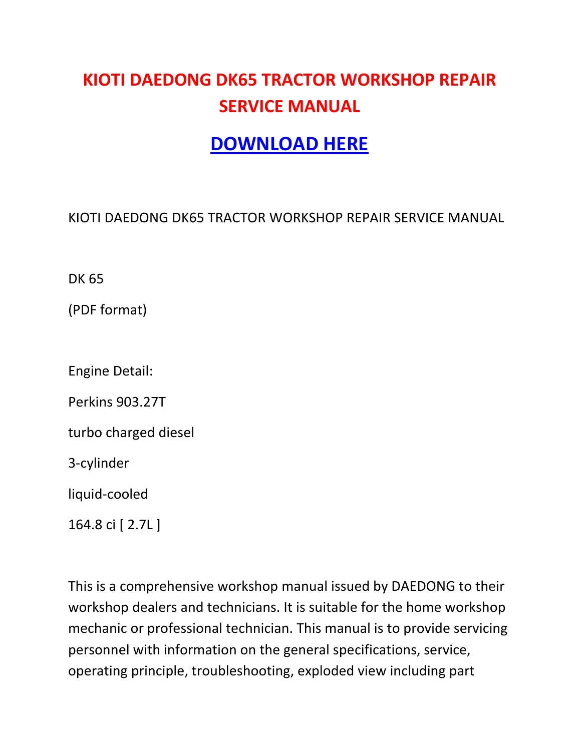 Kioti Daedong Dk65 Tractor Workshop Repair Service Manual