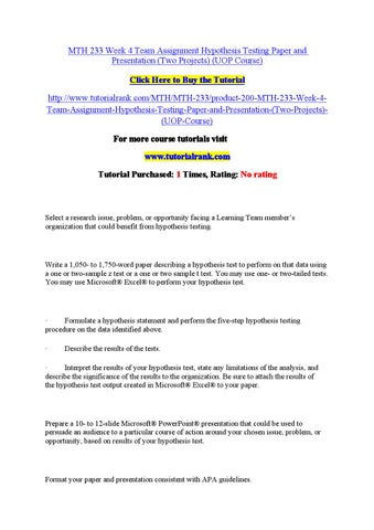 Hypothesis testing paper
