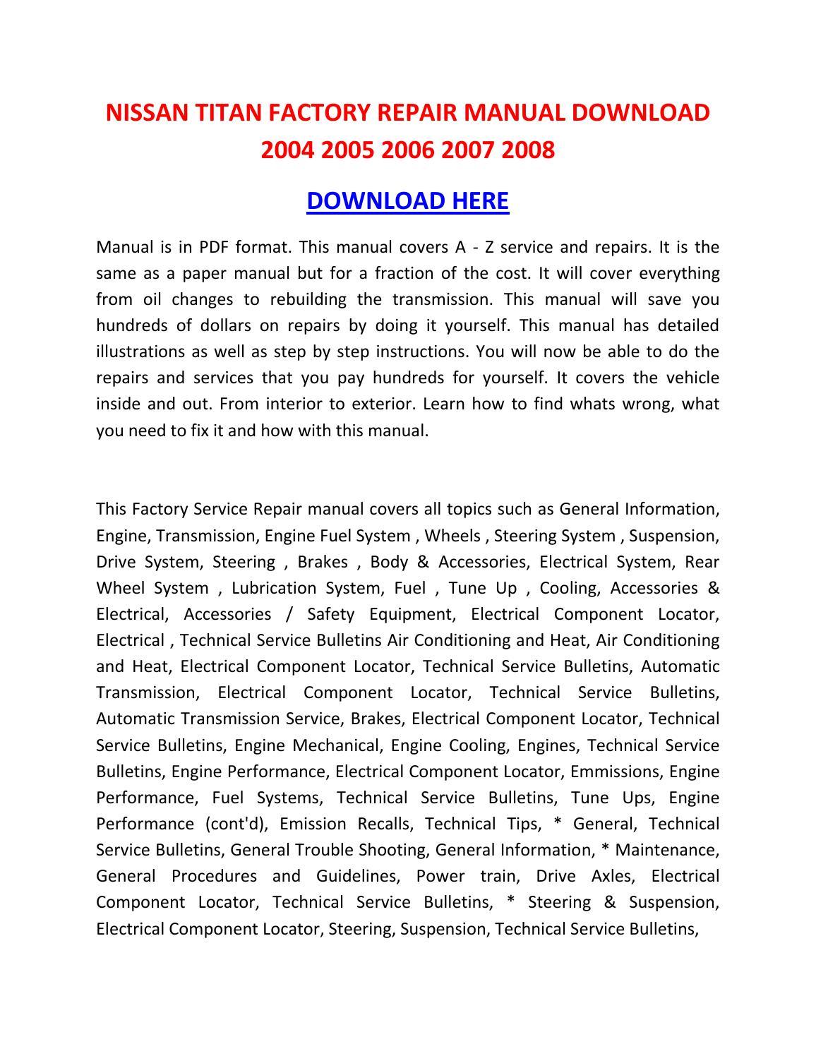 Nissan Titan Factory Repair Manual Download 2004 2005 2006