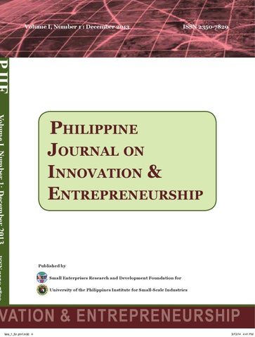 Philippine journal on innovation entrepreneurship by peter page 1 malvernweather Gallery
