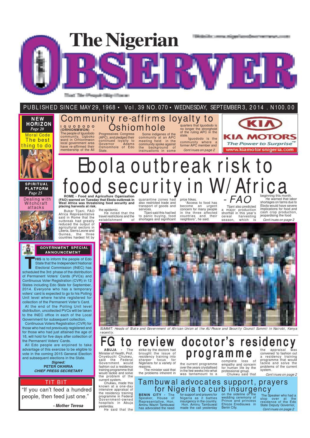 Nigerian observer 03 09 2014 by Nigerian Observer - issuu