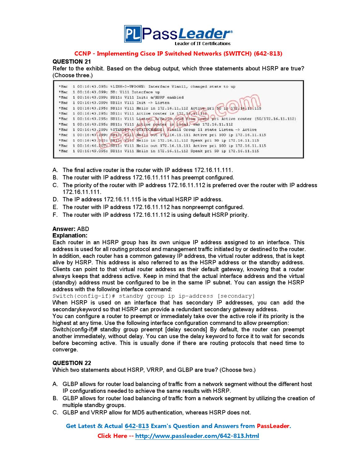 Ccnp Switch 642 813 Dumps Pdf