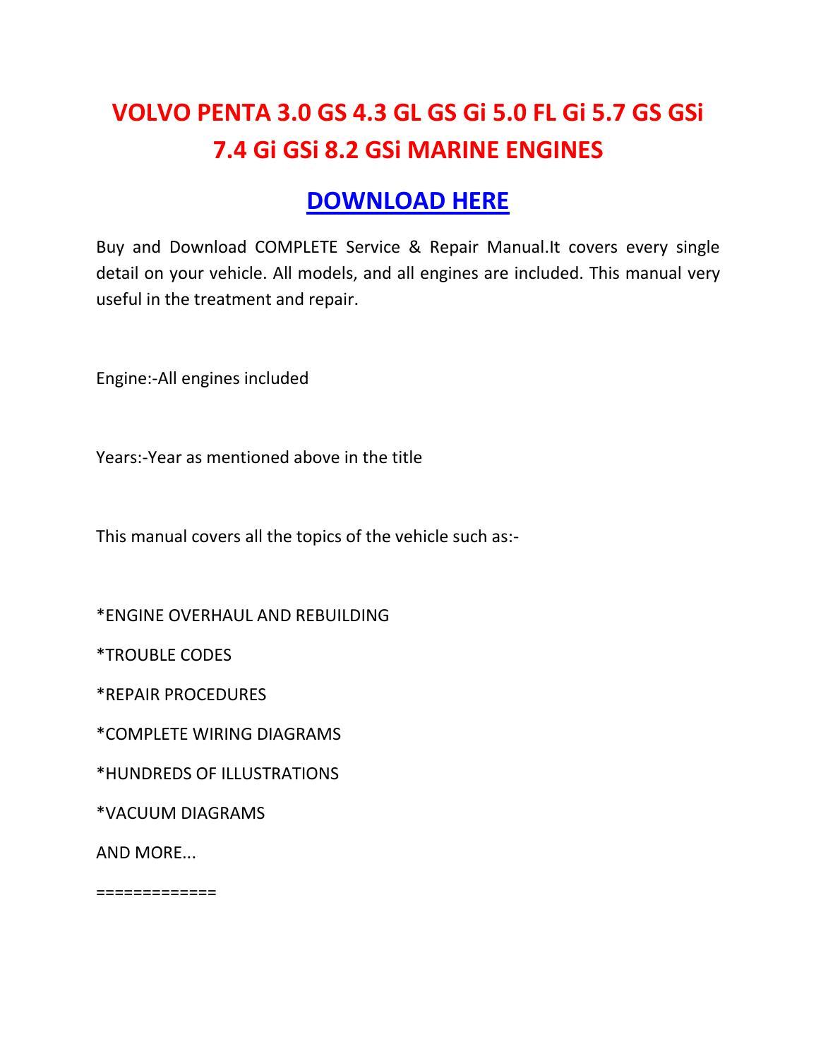 volvo penta 3 0 gs 4 3 gl gs gi 5 0 fl gi 5 7 gs gsi 7 4 gi gsi 8 2 gsi  marine engines