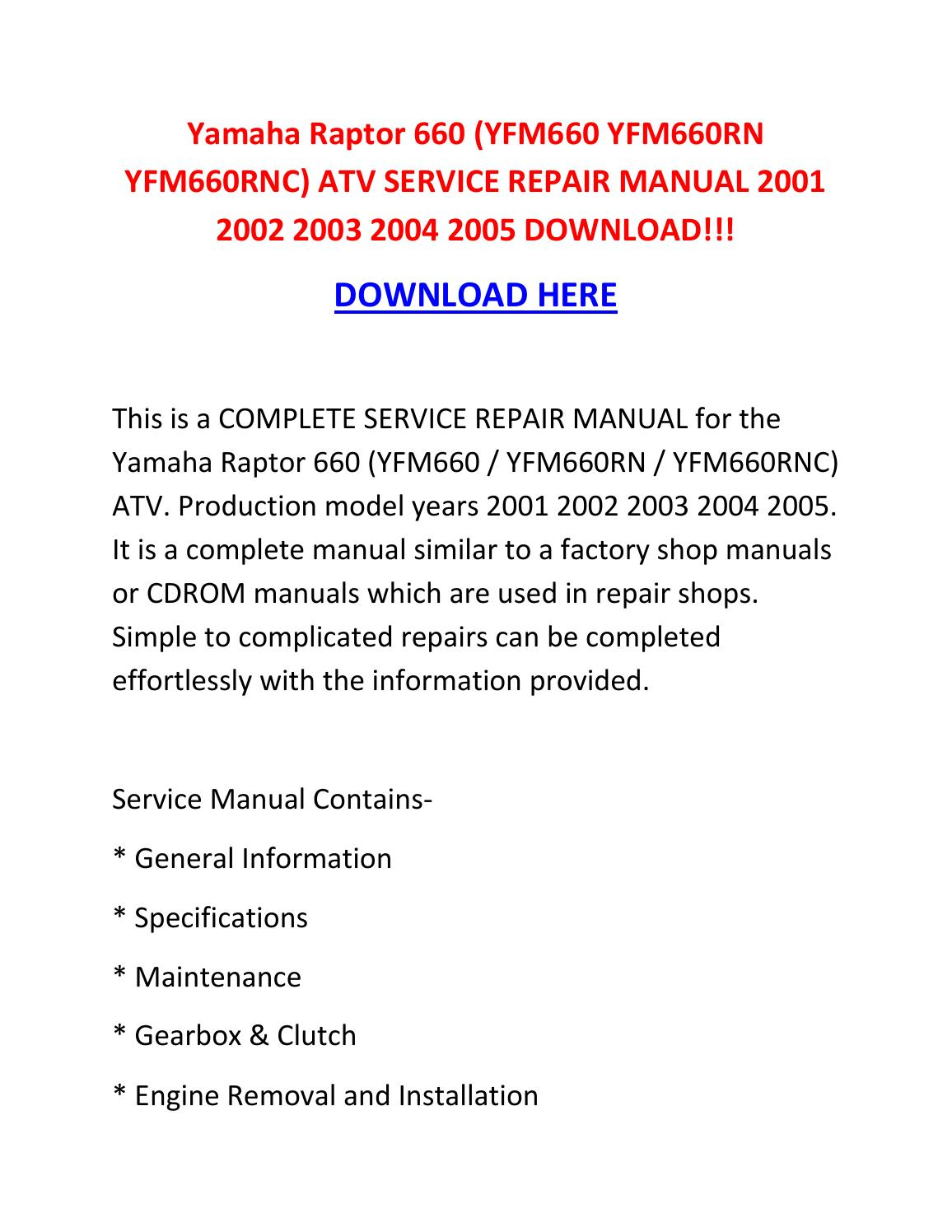 03 Raptor 660 Service Manual Citroen C5 Workshop Repair Dvd Wiring Diagrams 1st 2nd 2005 Yamaha Diagram Grizzly Radio Today Array Yfm660 Yfm660rn Yfm660rnc Atv Rh