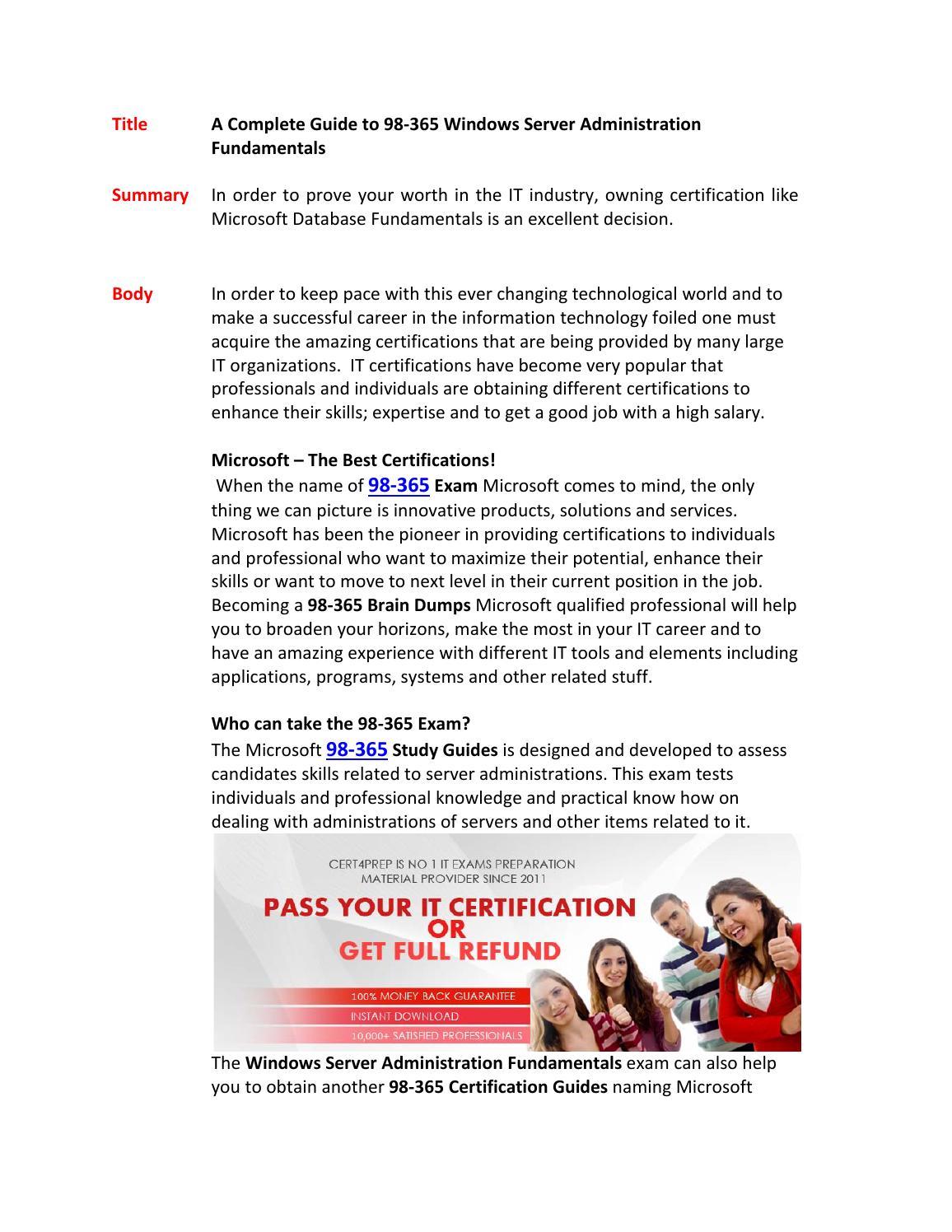 98 365 Pdf Training Guides By Georgewall Issuu