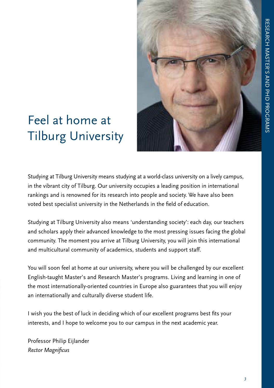 Research Master's and PhD programs 2015-2016 by Tilburg