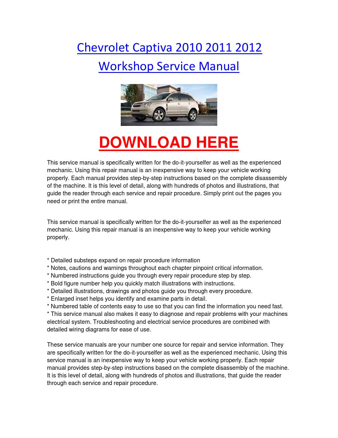 Chevrolet captiva 2010 2011 2012 workshop service manual by  chevroletservice - issuu