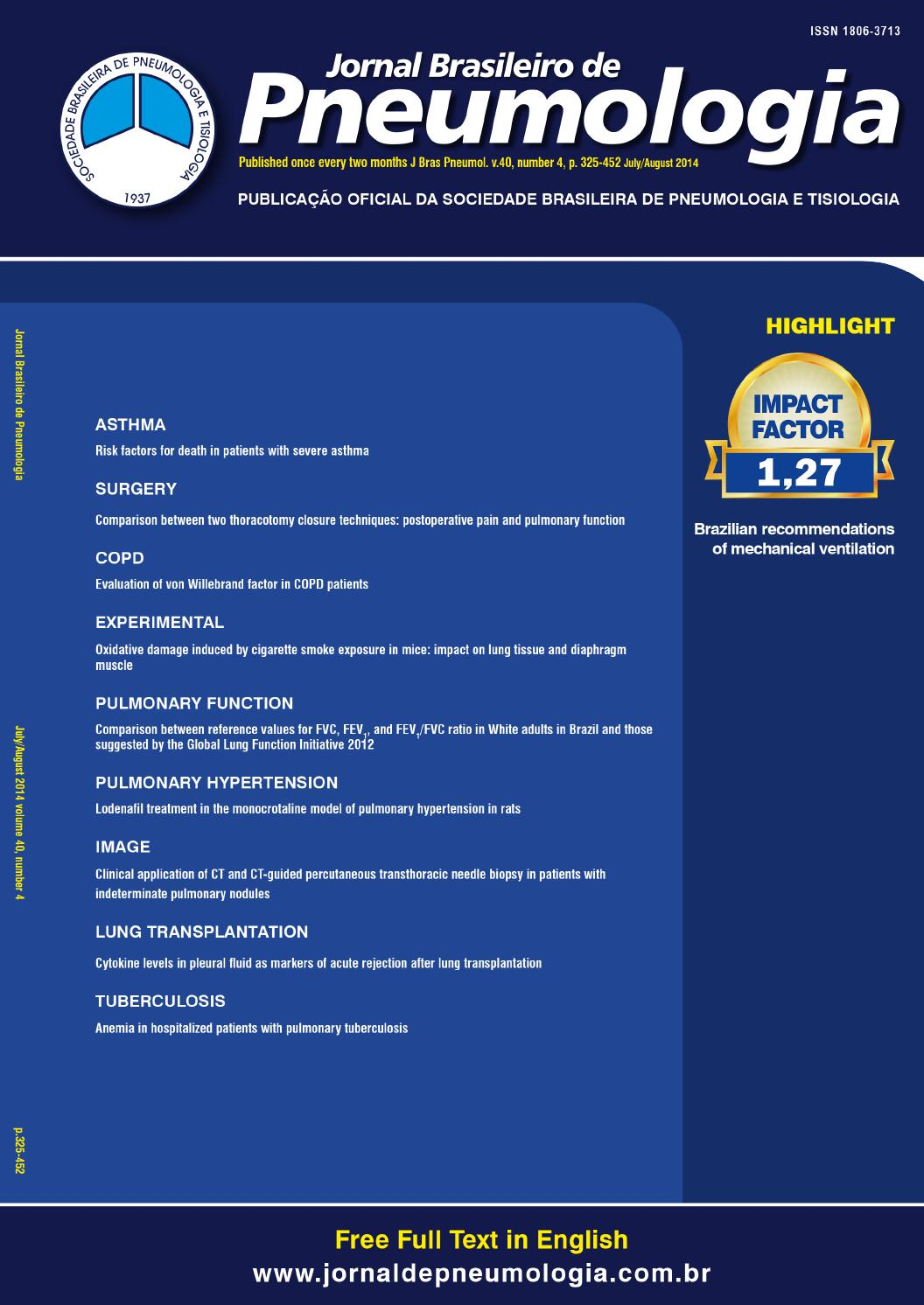 2c33e37102154 Brazilian Journal of Pulmonology - Volume 40, number 4, July/August - 2014  by Jornal Brasileiro Pneumologia - issuu