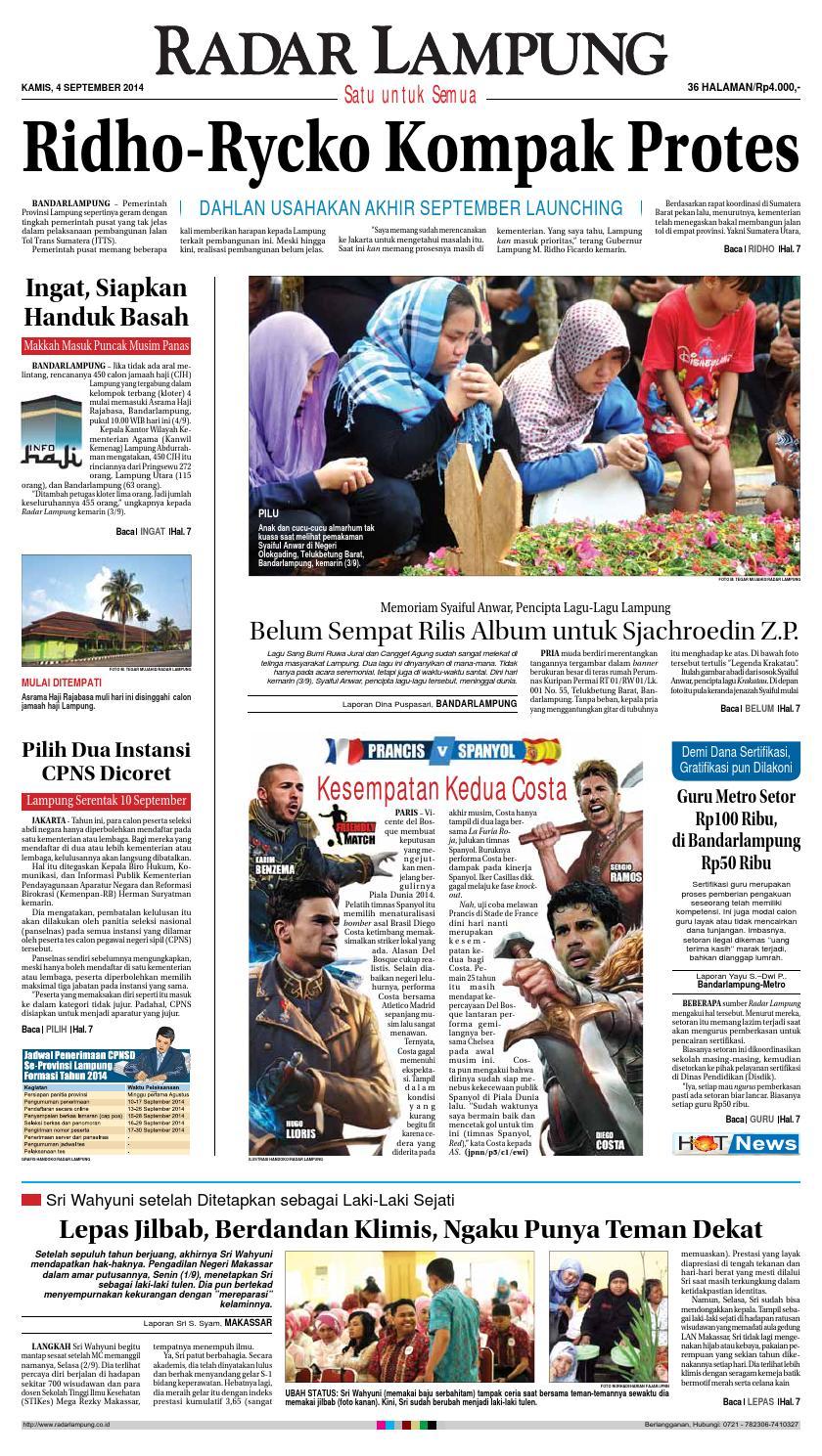 Radar Lampung Kamis 4 September 2014 By Ayep Kancee Issuu Penutup Toilet Duduk Otomatis Izen Ib 450