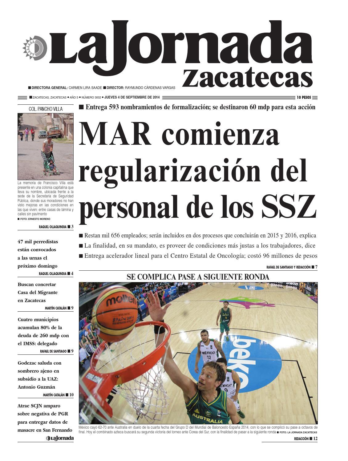 La Jornada Zacatecas, jueves 4 de septiembre del 2014 by La Jornada ...